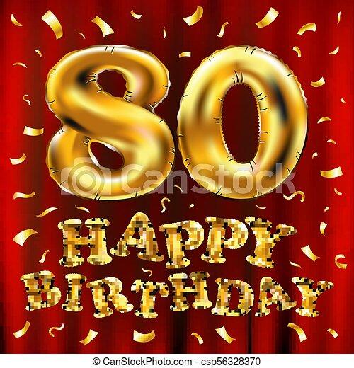 Vector Feliz Cumpleaños 80 Globos Dorados Y Brillos De