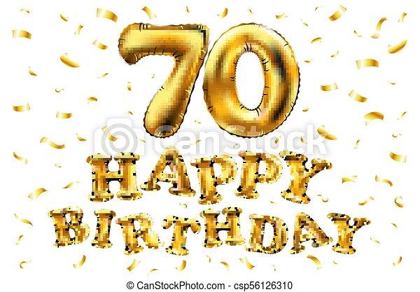 Vector Feliz Cumpleaños 70 Globos De Oro Y Brillos De