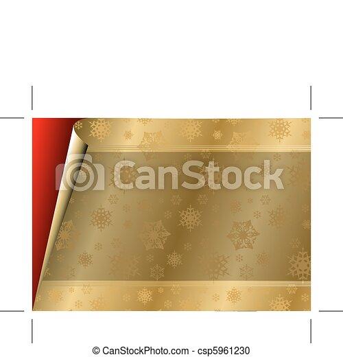 Tarjeta de Navidad con papel dorado / patrón - csp5961230