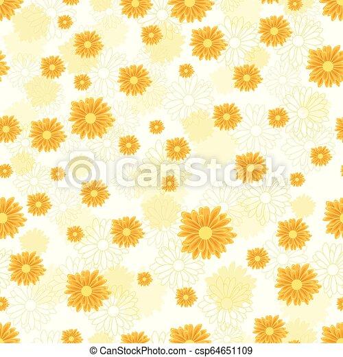 Patrón sin costura con flores de margarita doradas en fondo blanco - csp64651109