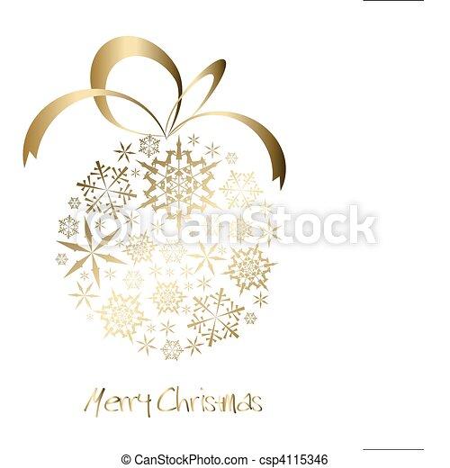 Bola de Navidad hecha de copos de nieve de oro - csp4115346