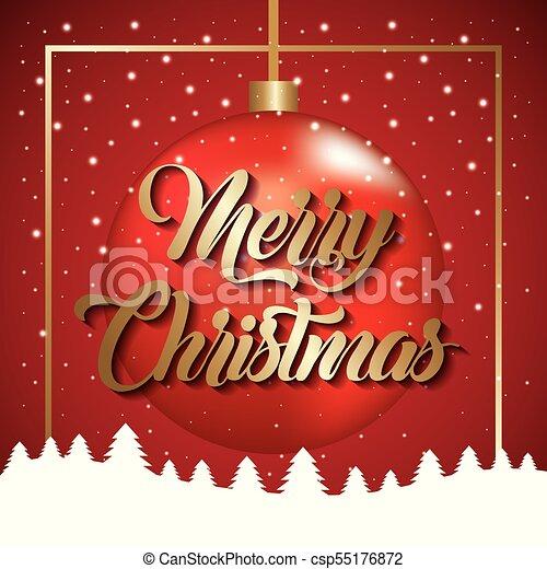 Feliz Navidad Bola de texto dorada con nieve de árbol - csp55176872