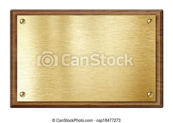 Placa dorada o placa de nombre en marco de madera aislada en blanco - csp18477273