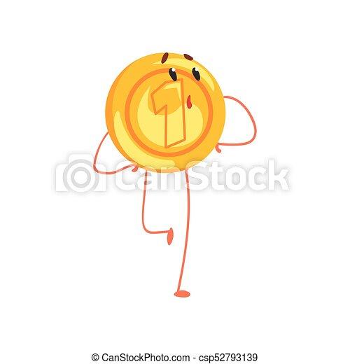 Un brillante personaje de monedas de oro con cara de sorpresa. Un personaje de dibujos animados de estilo plano. Un icono de un centavo. Ilustración vectorial aislada - csp52793139