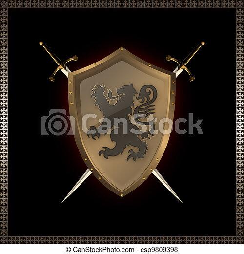 Escudos dorados y espadas. - csp9809398