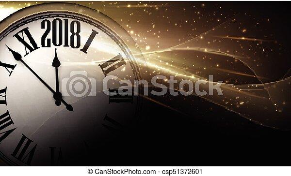 Dorado 2018, antecedentes de reloj de año nuevo. - csp51372601