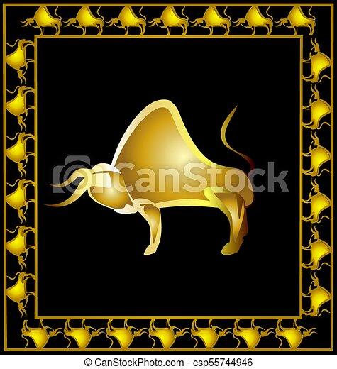 Abstract Golden Bull Antecedentes Oscuros Con Marco Dorado