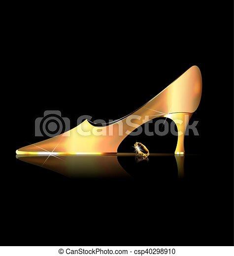 Abstraer el zapato dorado y el cristal amarillo - csp40298910