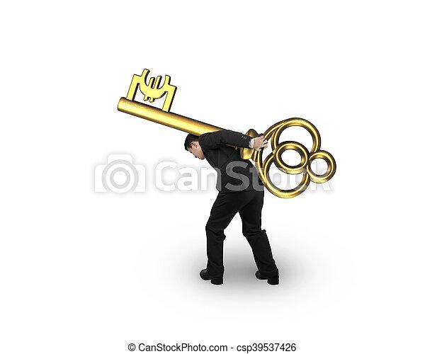 Hombre de negocios llevando la llave del tesoro dorado en forma de símbolo Euro - csp39537426