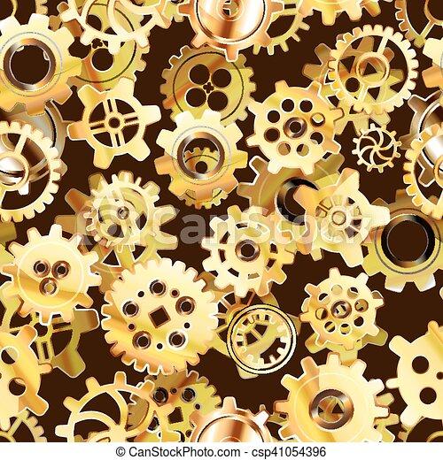 Mecanismo de relojería sin marcas con ruedas densas doradas - csp41054396
