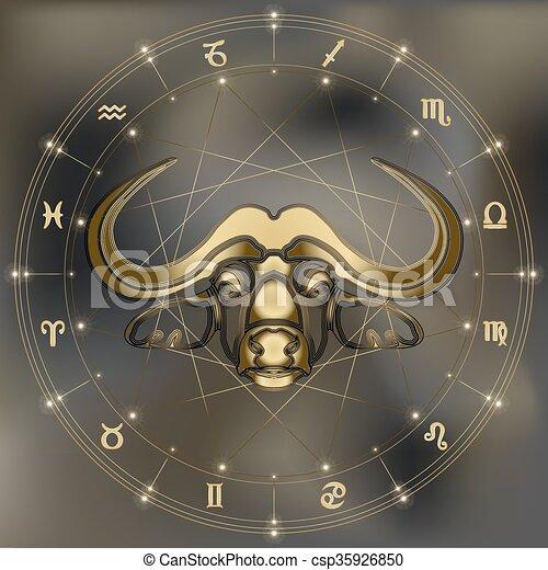 Retrato De Toro Dorado Signo Del Zodiaco Tauro Golden Bull