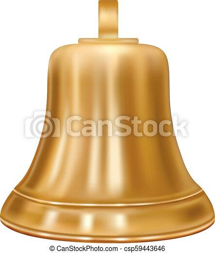 Campana dorada en el vector. - csp59443646