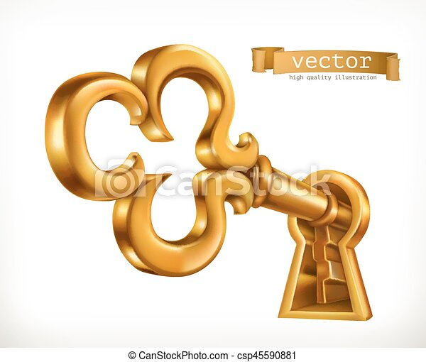 La llave dorada en la cerradura, el icono vector 3D - csp45590881