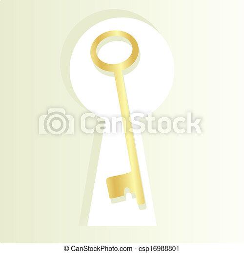 La llave dorada y la llave del ojo de la cerradura - csp16988801