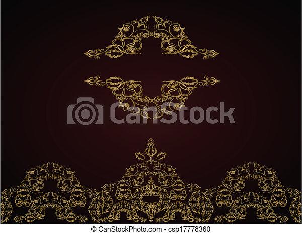 Antecedentes antiguos. Vector. Ornamento dorado victoriano - csp17778360