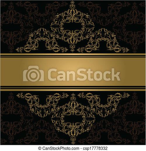 Antecedentes antiguos. Vector. Ornamento dorado victoriano - csp17778332
