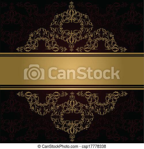 Antecedentes antiguos. Vector. Ornamento dorado victoriano - csp17778338