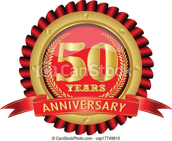 dorato, 50, anni, anniversario, etichetta - csp17749810