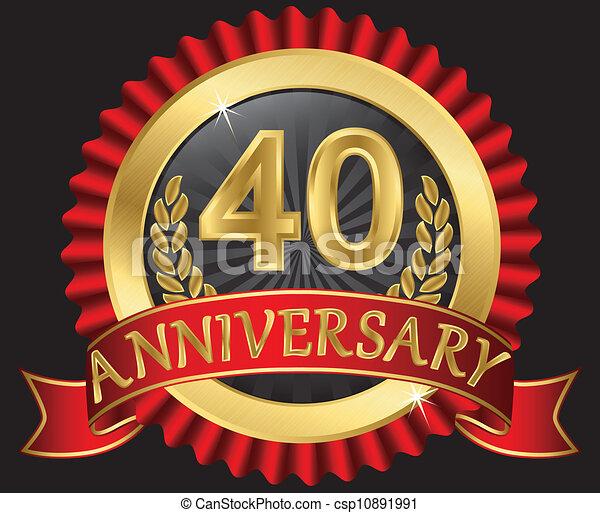 dorato, anniversario, 40, anni - csp10891991