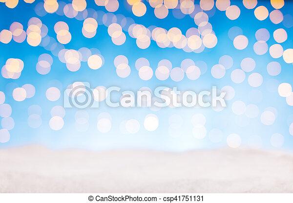 dorato, astratto, macchia, neve, sfocato, luci - csp41751131