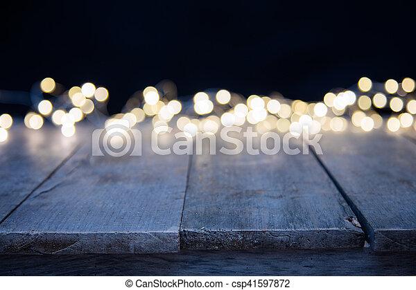 dorato, astratto, macchia, sfocato, luci, legno - csp41597872