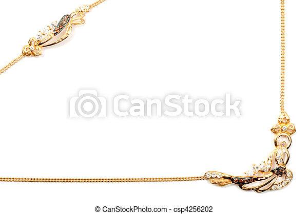 dorato, cornice, gioielleria - csp4256202