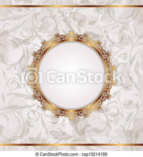 dorato, cornice, seamless, struttura, retro, floreale - csp10214189
