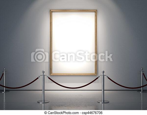 dorato, cornice, wall., interpretazione, bianco, 3d - csp44676706