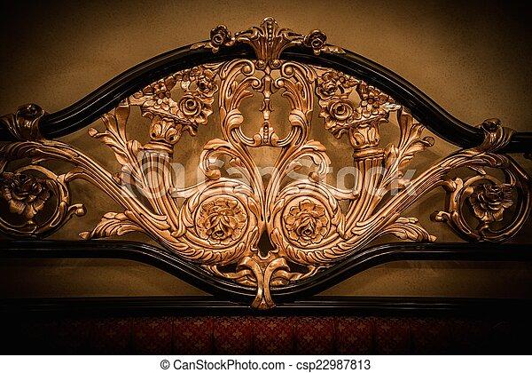 dorato, costoso, ornamento, indietro, letto - csp22987813