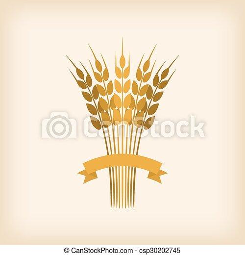 dorato, covone, frumento, nastro - csp30202745