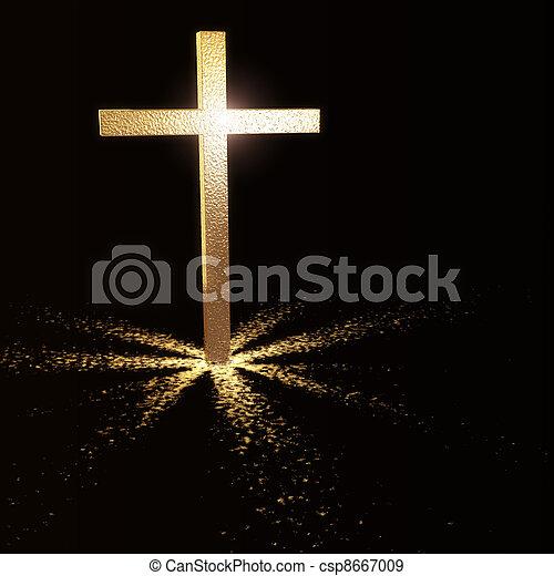 dorato, cristiano, croce - csp8667009