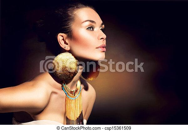 dorato, donna, trucco, jewels., moda, portrait., trendy - csp15361509