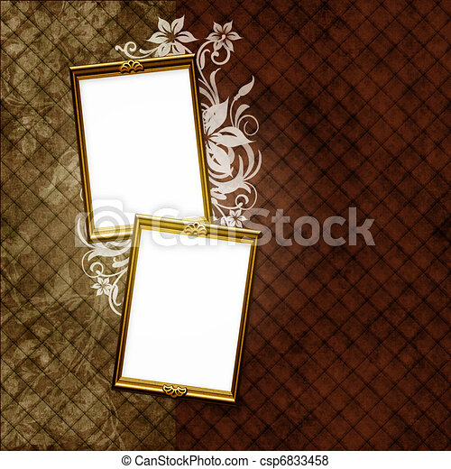 dorato, elementi, vendemmia, cornice, carta da parati, floreale, strisce, sopra - csp6833458