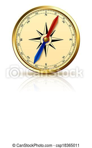 dorato, emblema, navigazione, bussola - csp18365011