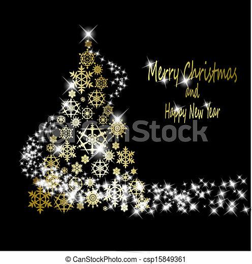 dorato, fatto, eps10, fiocchi neve, oro, albero, illustrazione, fondo., vettore, nero, stelle, natale - csp15849361