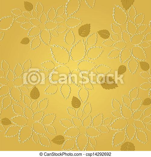 dorato, foglie, laccio, seamless, modello - csp14292692