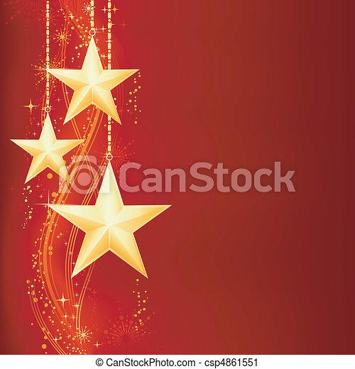dorato, grunge, elements., festivo, neve, stelle, fiocchi, fondo, natale, rosso - csp4861551