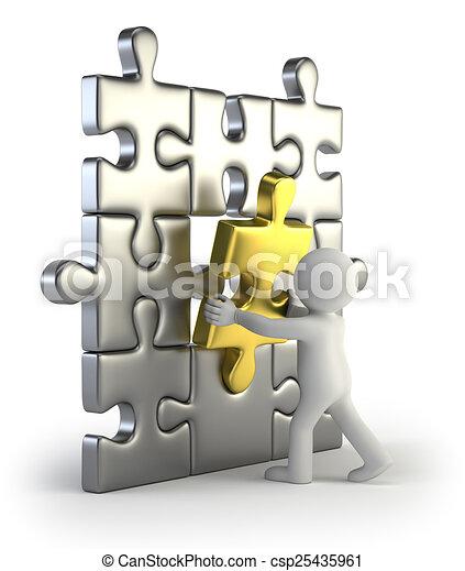 dorato, inserto, puzzle, persone, -, piccolo, 3d - csp25435961