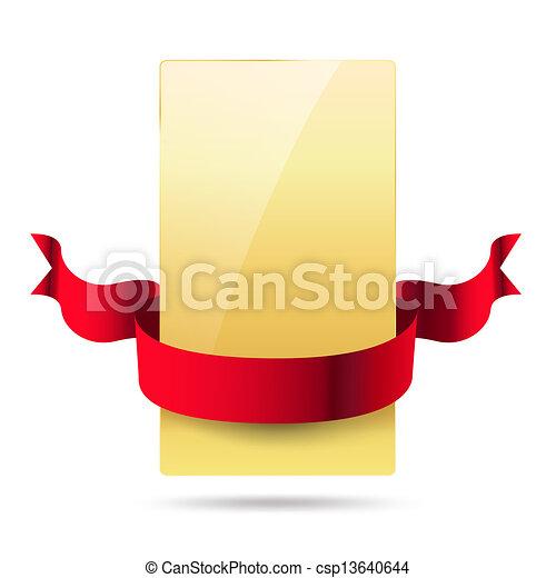 dorato, nastro, baluginante, scheda rossa - csp13640644