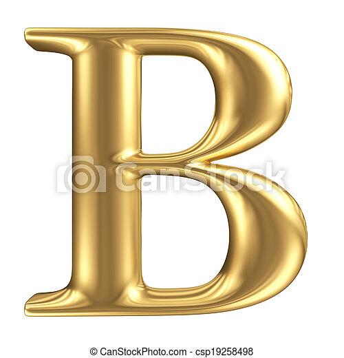 dorato, opaco, gioielleria, b, collezione, lettera, font - csp19258498