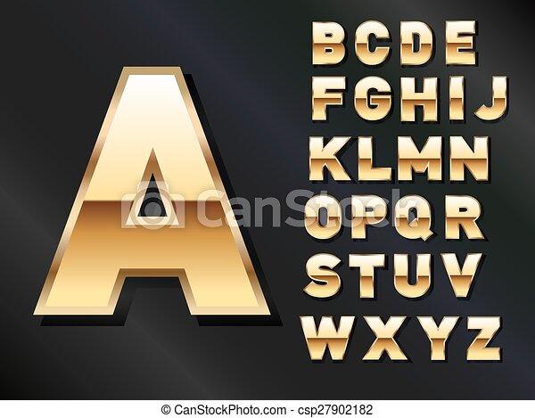 dorato, set, lettere - csp27902182