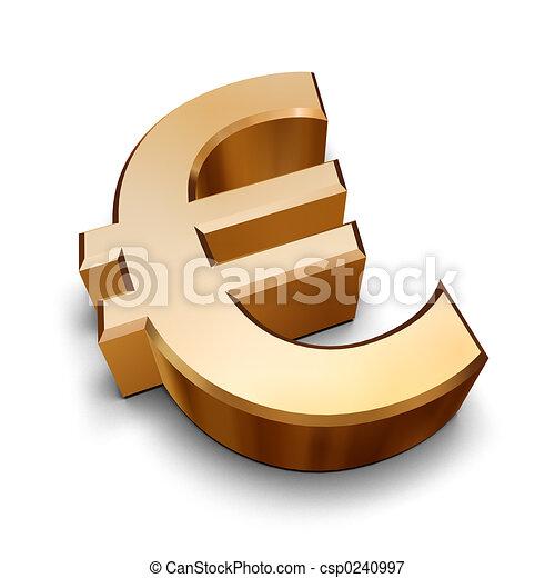dorato, simbolo, 3d, euro - csp0240997
