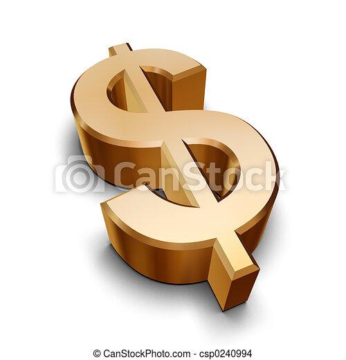 dorato, simbolo, dollaro, 3d - csp0240994