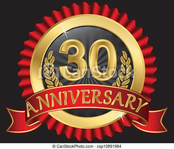 dorato, trenta, anniversario, anni - csp10891984