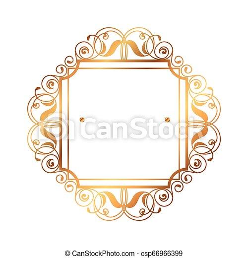 dorato, vittoriano, quadrato, stile, etichetta - csp66966399