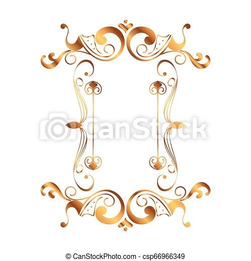 dorato, vittoriano, quadrato, stile, etichetta - csp66966349