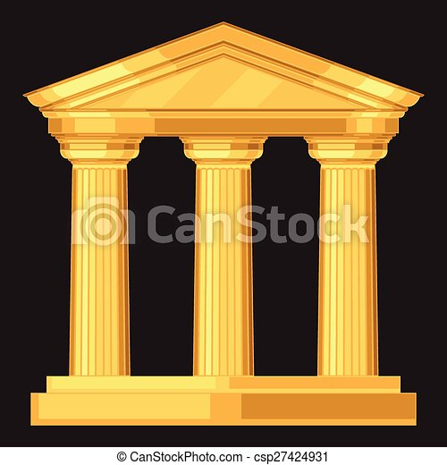 Doric realistic antique greek temple with columns - csp27424931