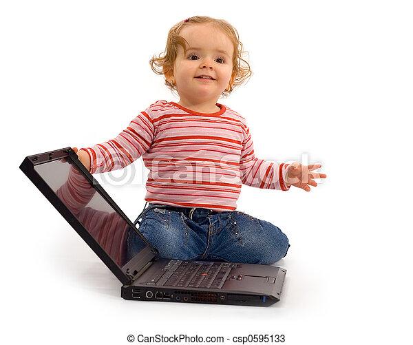 dorlotez fille, ordinateur portable - csp0595133
