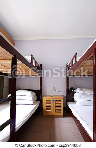dorm, interieur, 4, bed - csp3944083