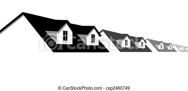 dormer, fenetres, toit, maisons, maison, frontière, rang - csp2460749